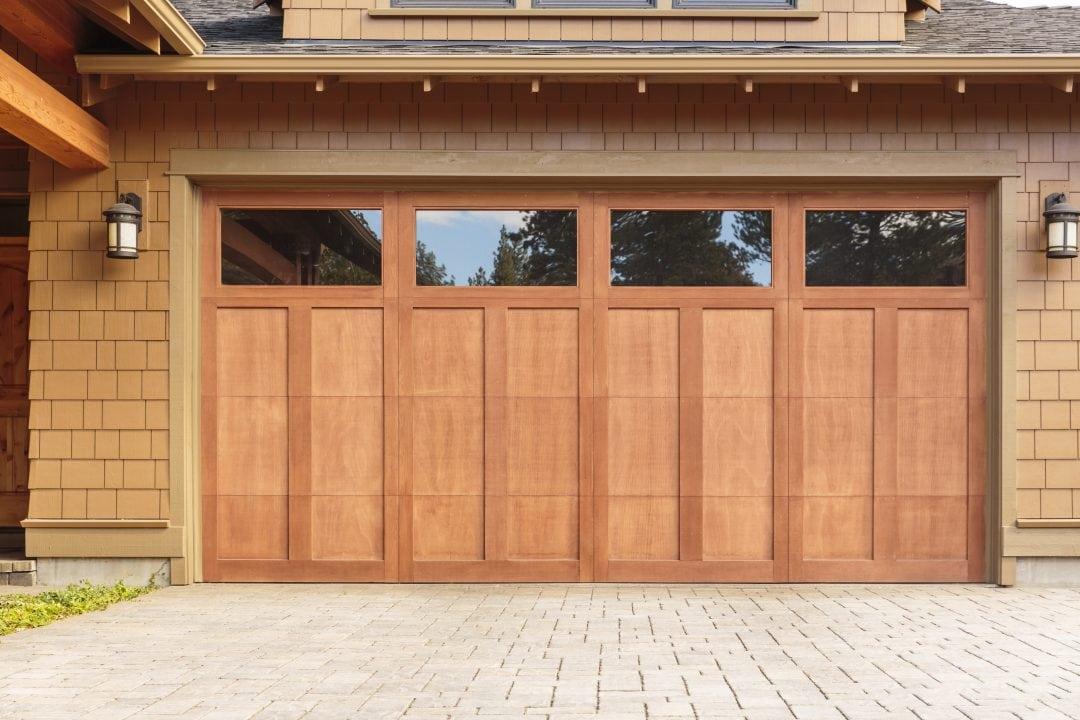 Wood Stained Door Solid Open Windows