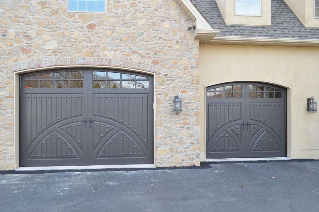 2 Gray Different Size Carriage House Doors
